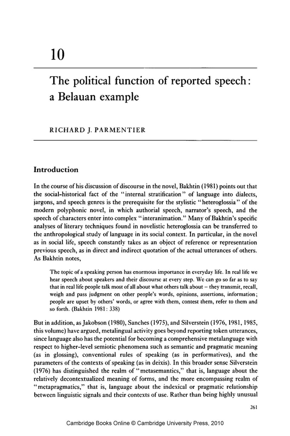 The Political Function Of Reported Speech A Belauan Example