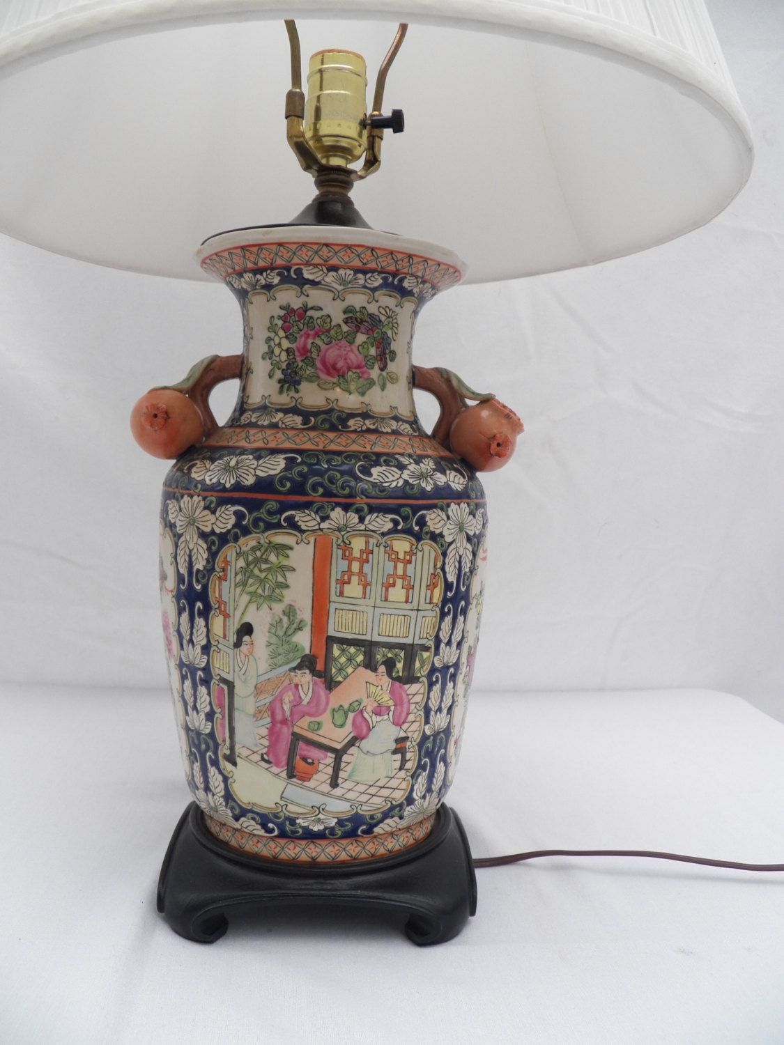 Chinese porcelain hand painted vase converted into table lamp chinese porcelain hand painted vase converted into table lamp famille rose medallion pomegranate wood geotapseo Gallery
