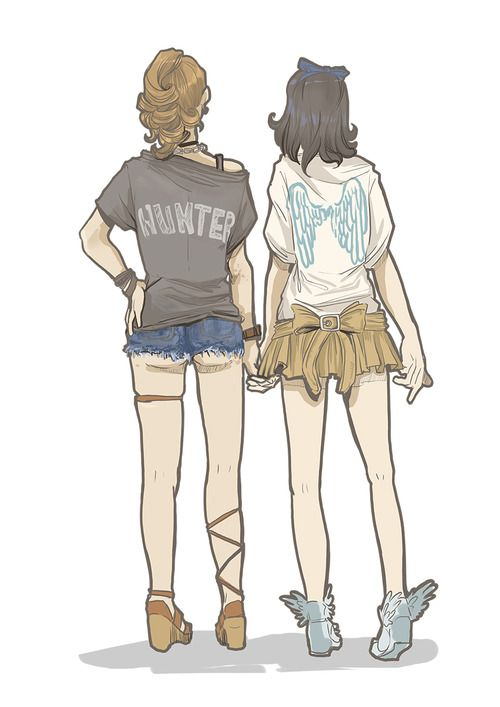"""genderbend Destiel. I looked at Dean's pants thinking that they were really short then I thought to myselft """"you know, he would wear those shorts if he was a girl"""" xD"""