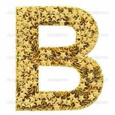 Letra B, composto por estrelas dourada