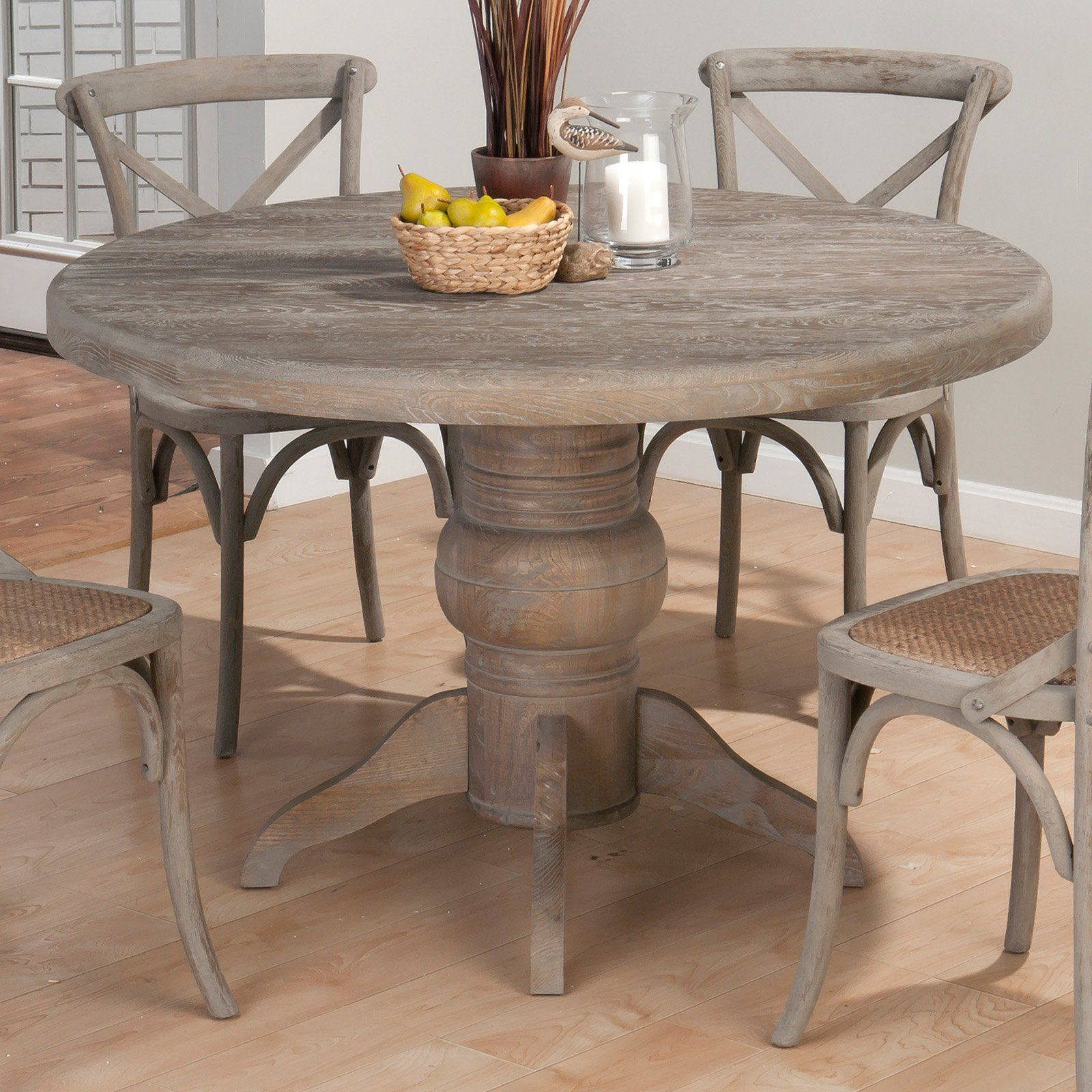 Jofran booth bay round pedestal dining table with a for Distressed round dining table