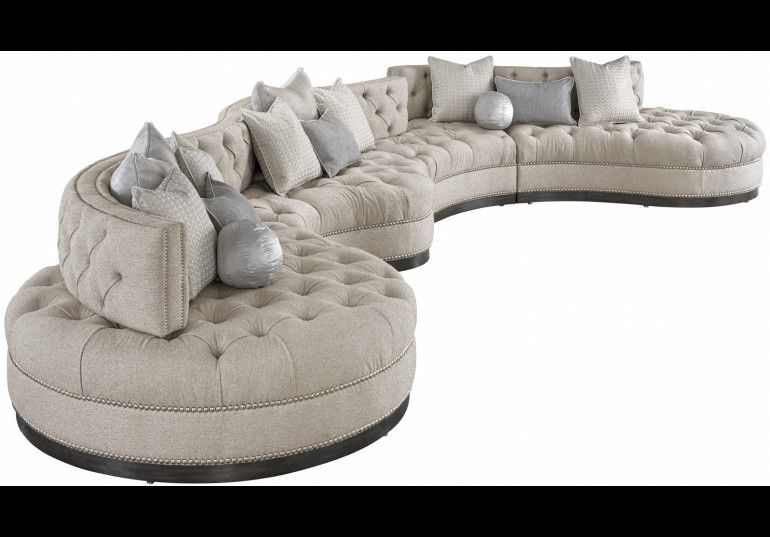 Sectionals Leather High End Upholstered Furniture Oversized Dove Grey Sectional With Curved Lines Tufted Cushions And N