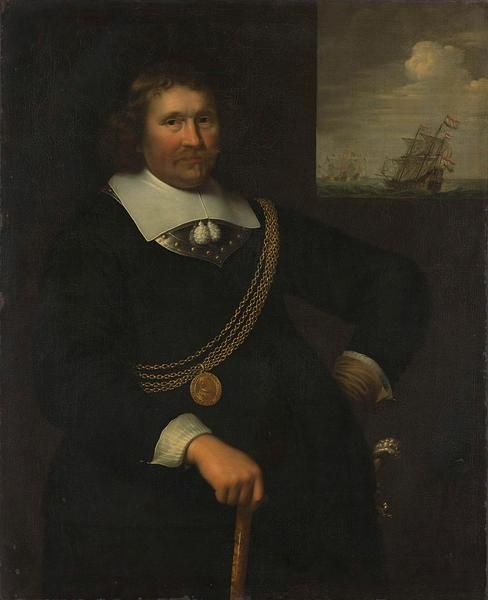 Jan Albertsz Rotius, 1661 - Portrait of Jan Cornelisz Meppel, Lieutenant-Admiral - art print, fine art reproduction, wall art
