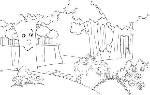 9 Top Coloriage Foret Images Coloriage Foret Dessin Foret Coloriage