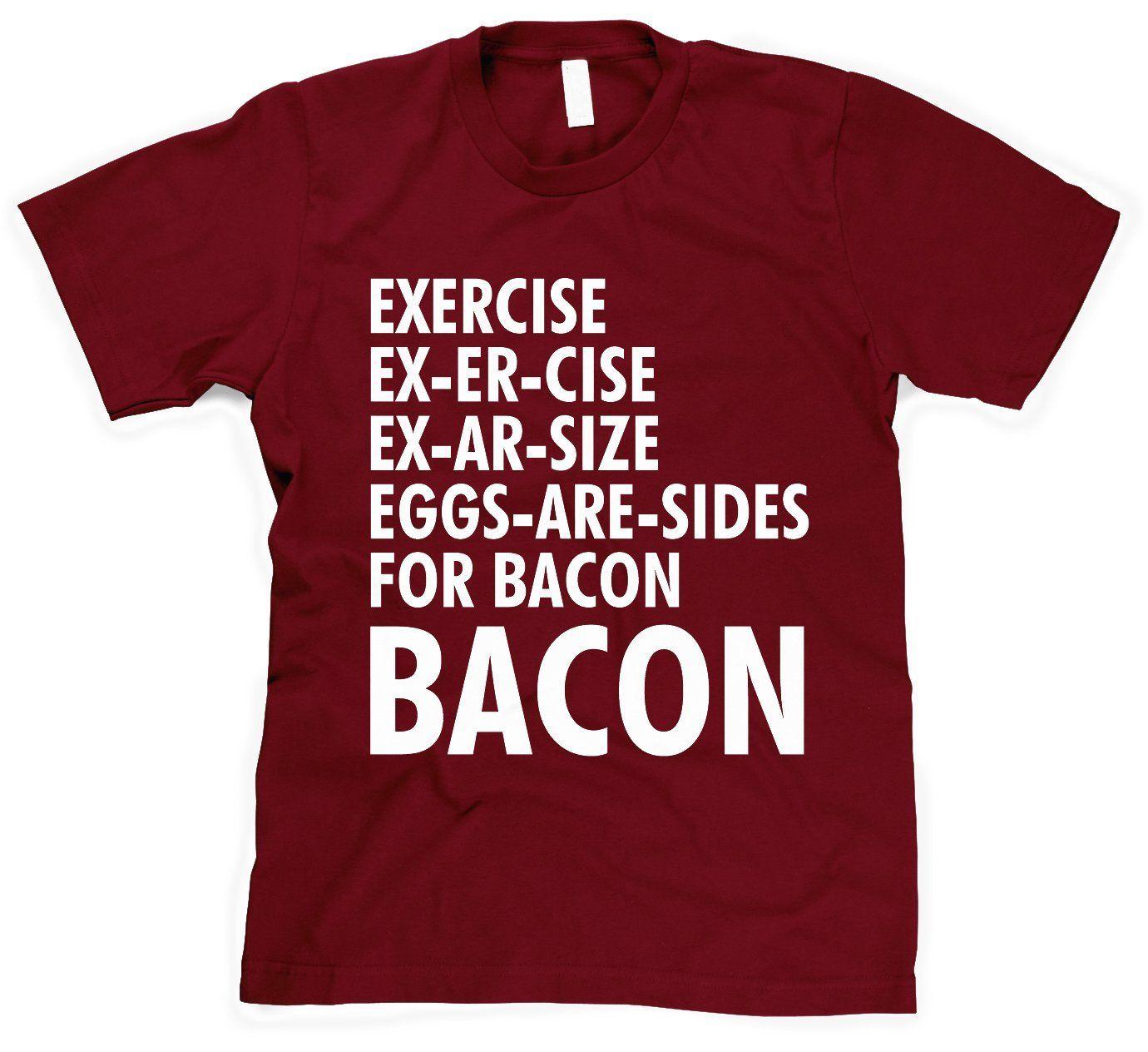 526b6d7fcd80237b98e3d781789e6a62 exercise bacon t shirt funny lazy breakfast tee christmas stuff