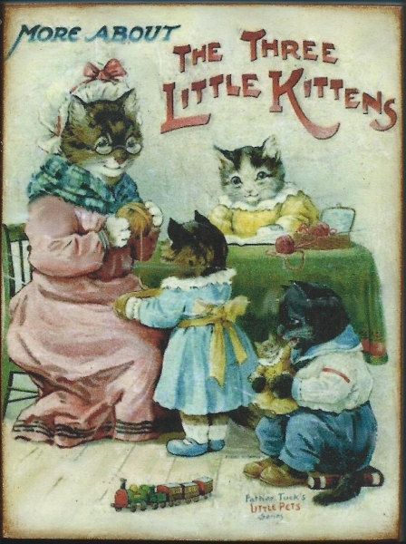 Wood Block Three Little Kittens Dressed Cats By Myfathershouse4 6 00 Cats Illustration Cat Art Vintage Cat