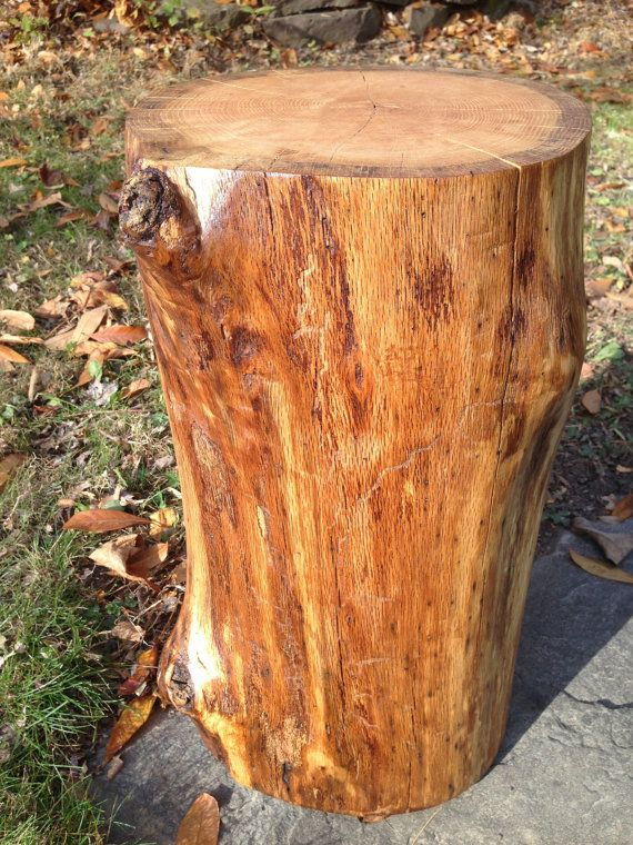 Charmant Stump Log Side Table Stool RED OAK Finished Rustic By OKMStumpt