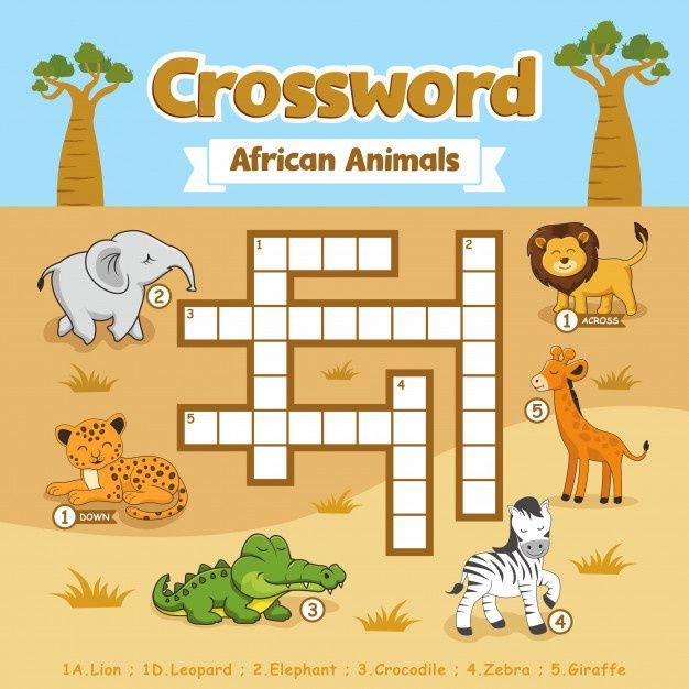 Crossword African Animals Puzzle Games Worksheet | Kids ...