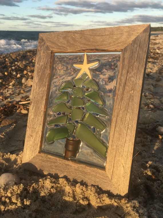 Christmas Tree by the Sea 7.25 X 9.25 Sea Glass di SeabirdDesign