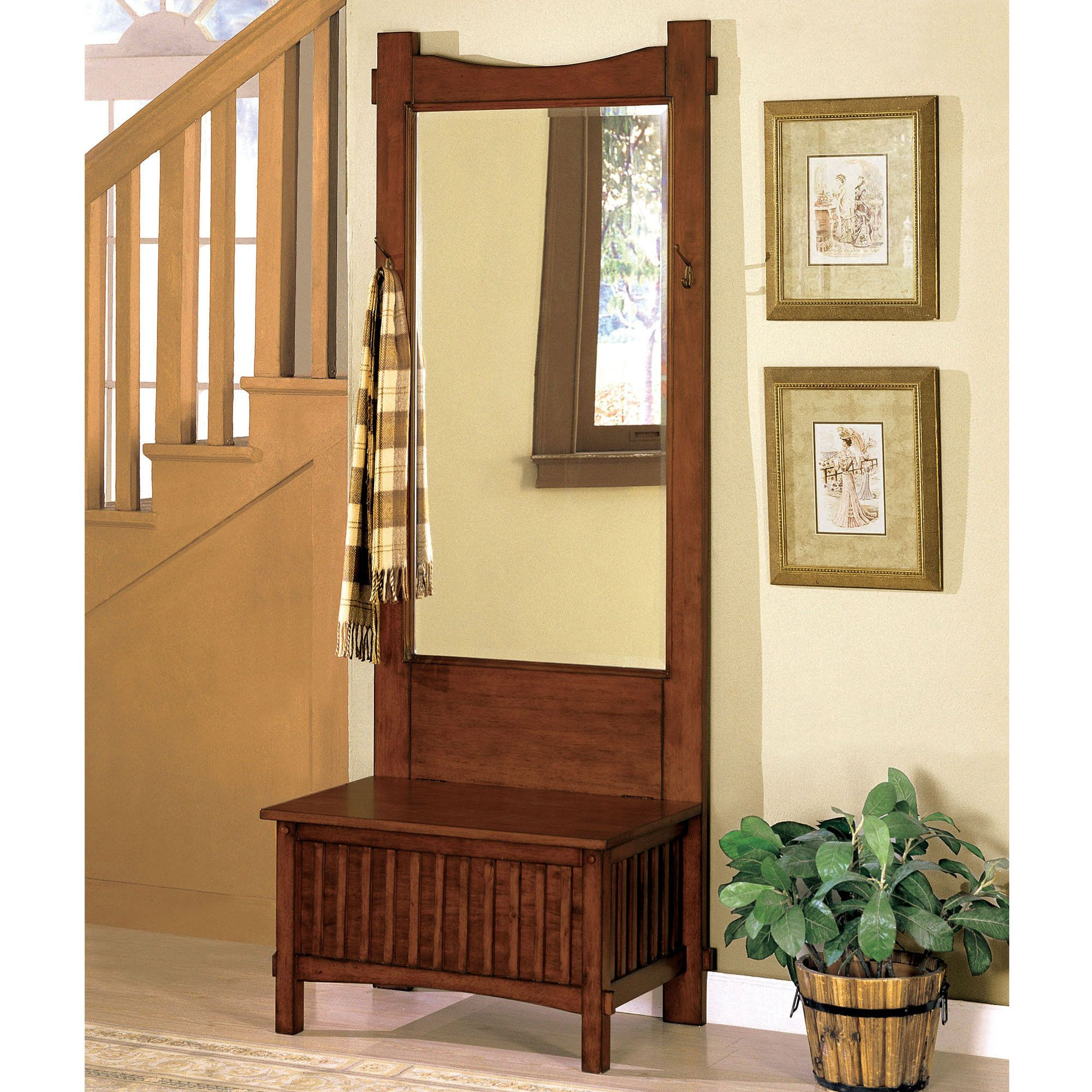 Hallway furniture with mirror  Tarrant Storage Bench with Mirror Mission Red Oak  Furniture