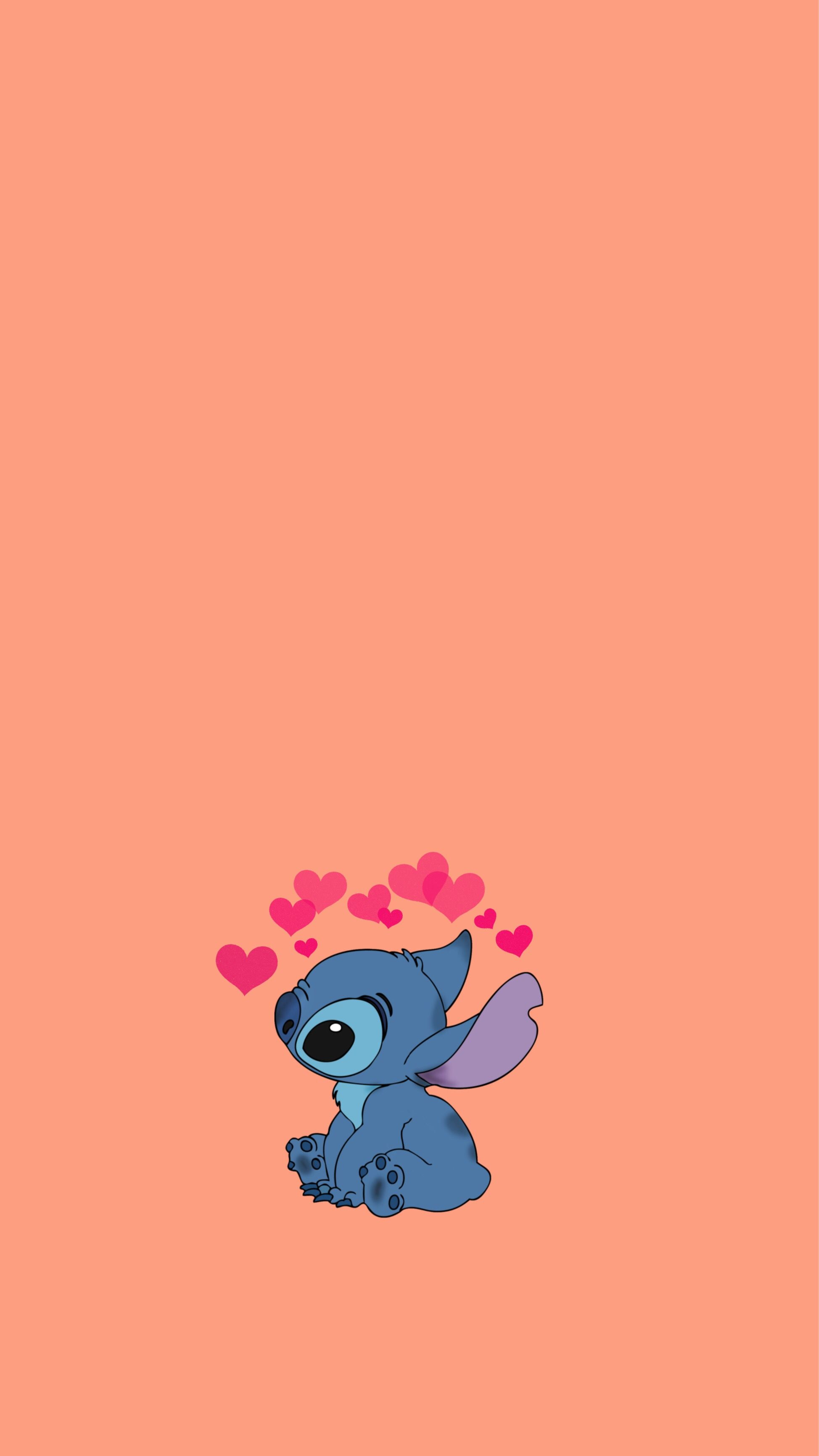 Cute Liloystich Stitch Backround Heartcrown