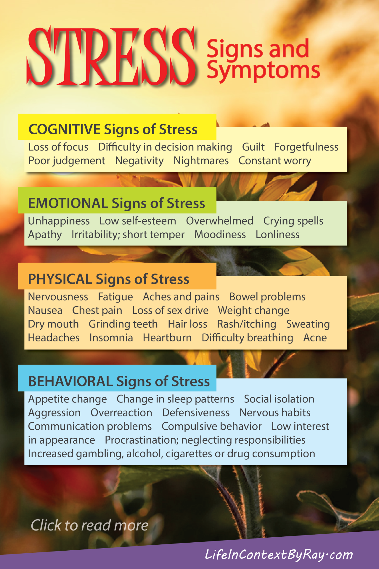 You may think you can recognize stress symptoms, but many of us