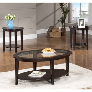 @Overstock.com   Oval Glass Coffee Table 3 Piece Set   Complete The