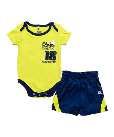 "Yellow ""Victory"" bodysuit & blue shorts on Zulily."