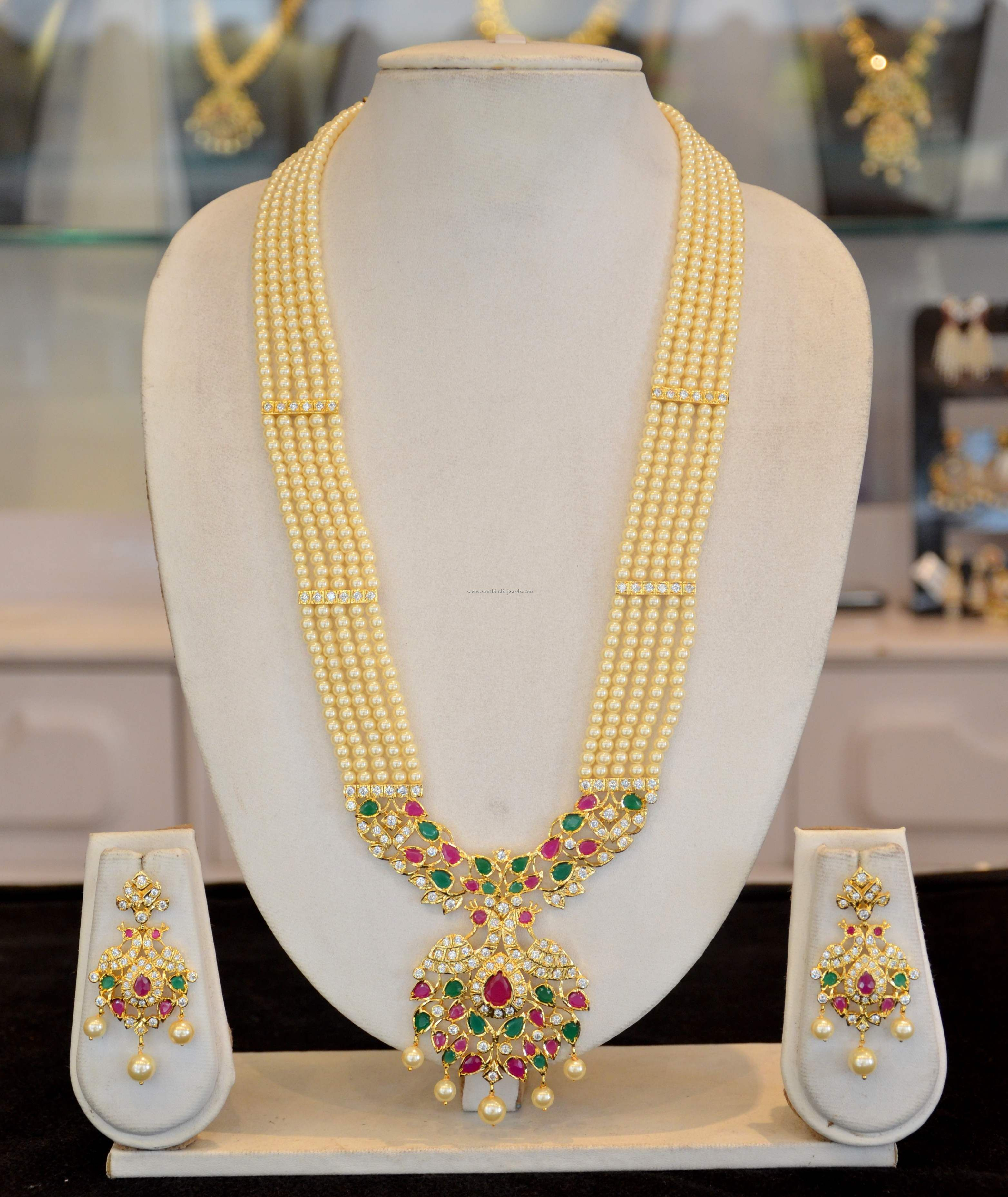 Traditional Pearl Long Haram Design Indian Wedding