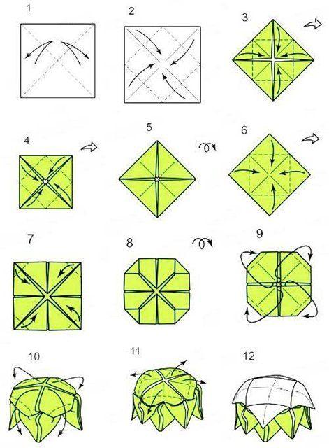 Оригами лотос из бумаги: схема сборки и пошаговая инструкция.