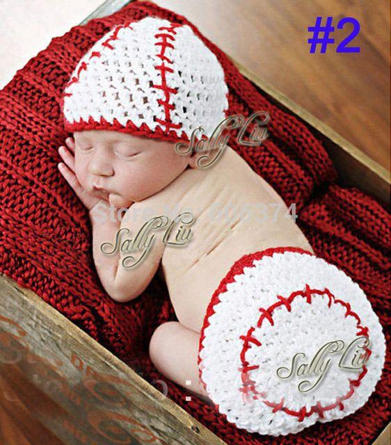 98793138bda Retail baseball Designs Crochet Baby Photo Props Infant Costume Outfits New  Born Crochet Beanies Hats Clothes 1set