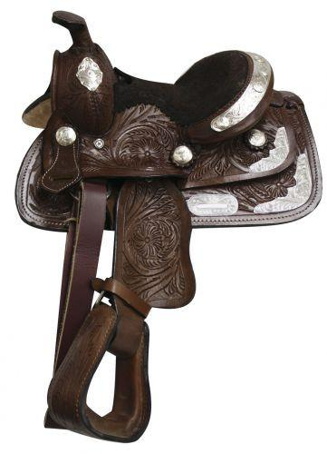 "8"" Fully Tooled Double T Pony/ Youth Show Saddle"