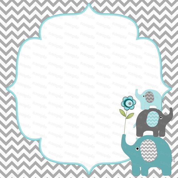 Blank For Boy Baby Shower Elephant By Diymyparty 4 00