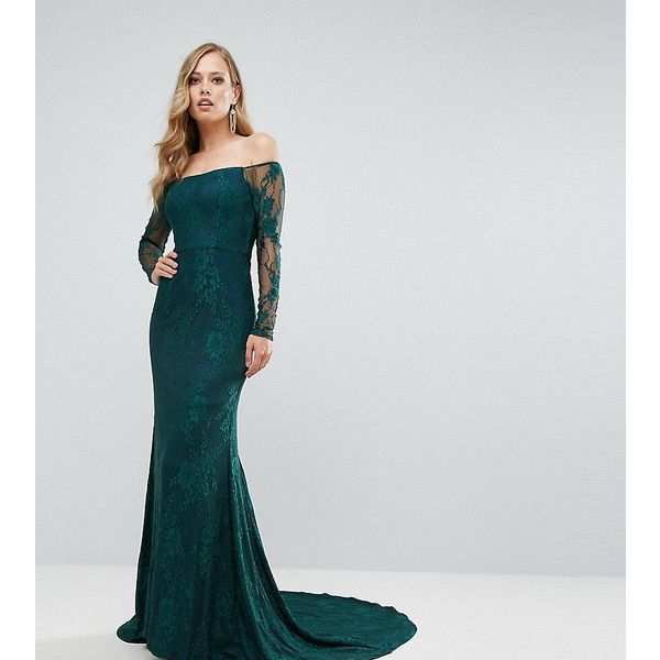 Bariano Off Shoulder Lace Gown With Train ($340) ❤ liked on ...
