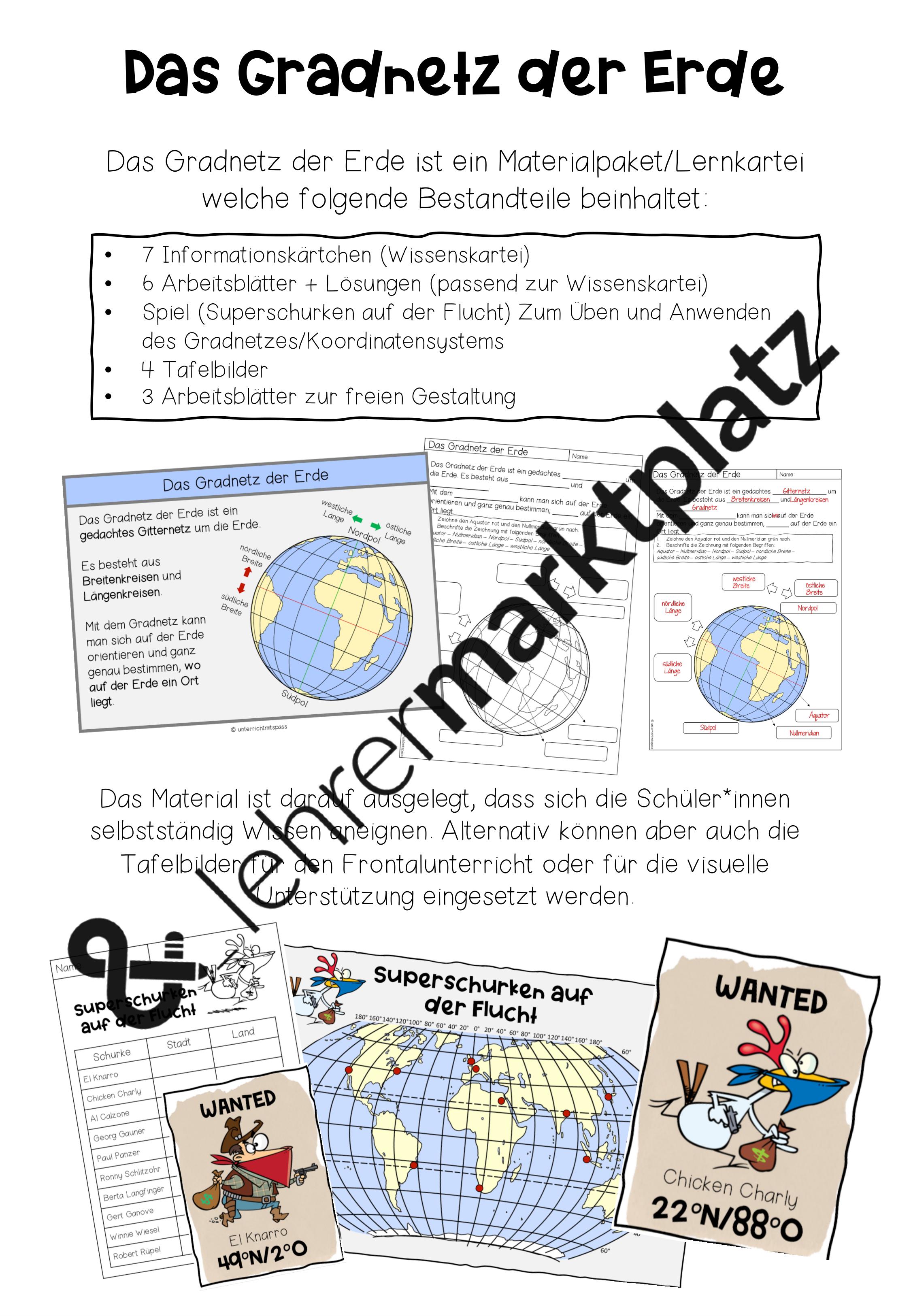 Das gradnetz der erde materialpaket wissenskartei arbeitsblätter ...