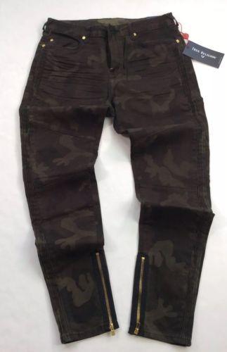 8400766f True-Religion-Men-Military-Army-Camo-Ankle-Zip-Moto-Biker-Rider-Motocross- Jeans