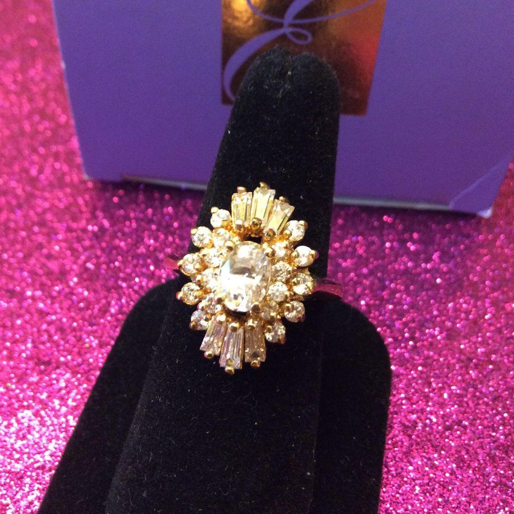 Avon Elizabeth Taylor Evening Star Genuine Cz Ring Size 8