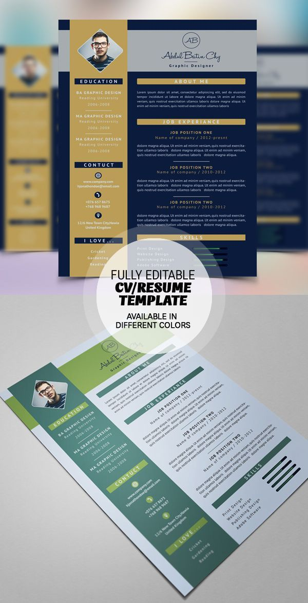 Professional Graphic Design Resume Professional Cv Template Bundle  Cv Package With Cover Letters For .