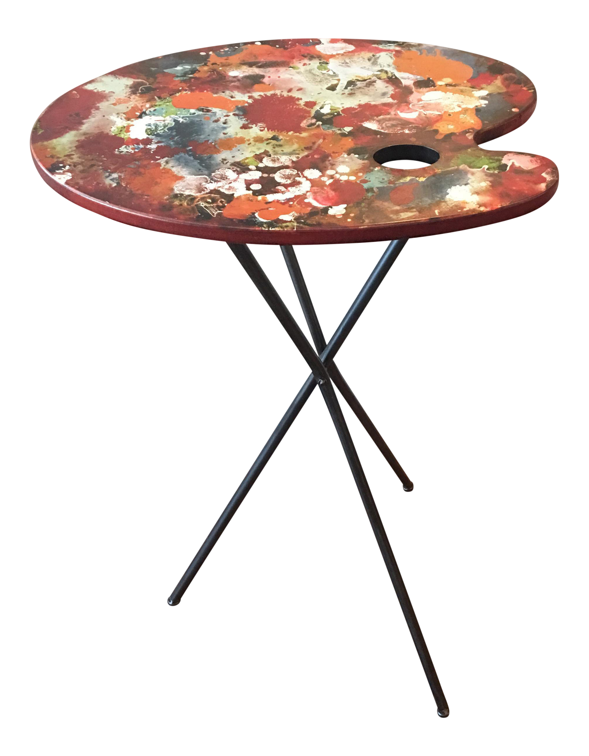 Artist S Paint Palette Tripod Accent Table On Chairish Com Palette Table Painted Table Tops Metal Table Legs
