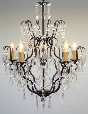 A7 C 3033 5 Wrought Iron Chandelier Chandeliers Crystal