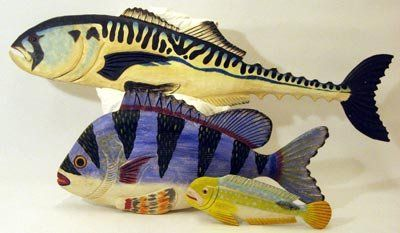 Carved Wood Fish Sculpture $300.00
