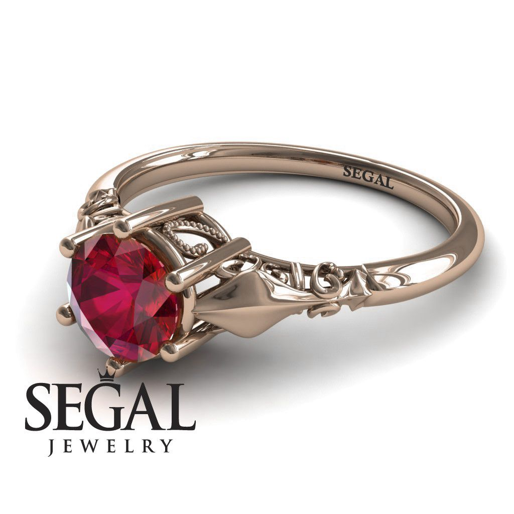 Unique engagement ring k red gold antique ring ruby reagan