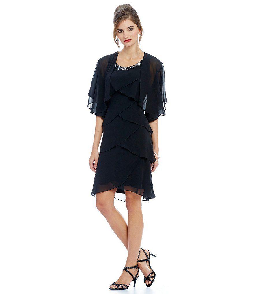 s.l. fashions beaded tulip tier chiffon jacket dress | clothes