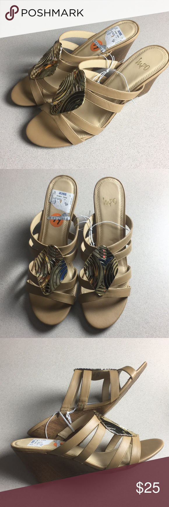 5ee6f58a3 Brand new Impo wedge style sandals Brand new Impo gold wedge style sandals  heels shoes. Says Size 11 but more like 10. Looks really beautiful.