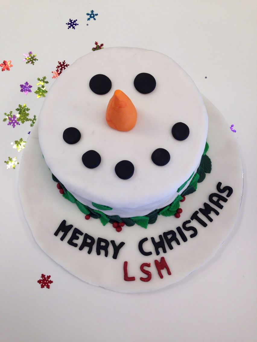 Christmas snowman cake for work