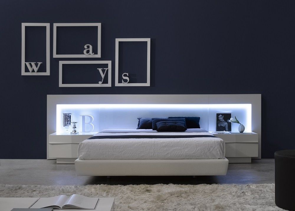 J M Valencia Platform Bed Led Lights White Glass Headboard 1793212 Modern Bedroom Furniture Contemporary Bedroom Sets Bedroom Sets Modern Platform Bed