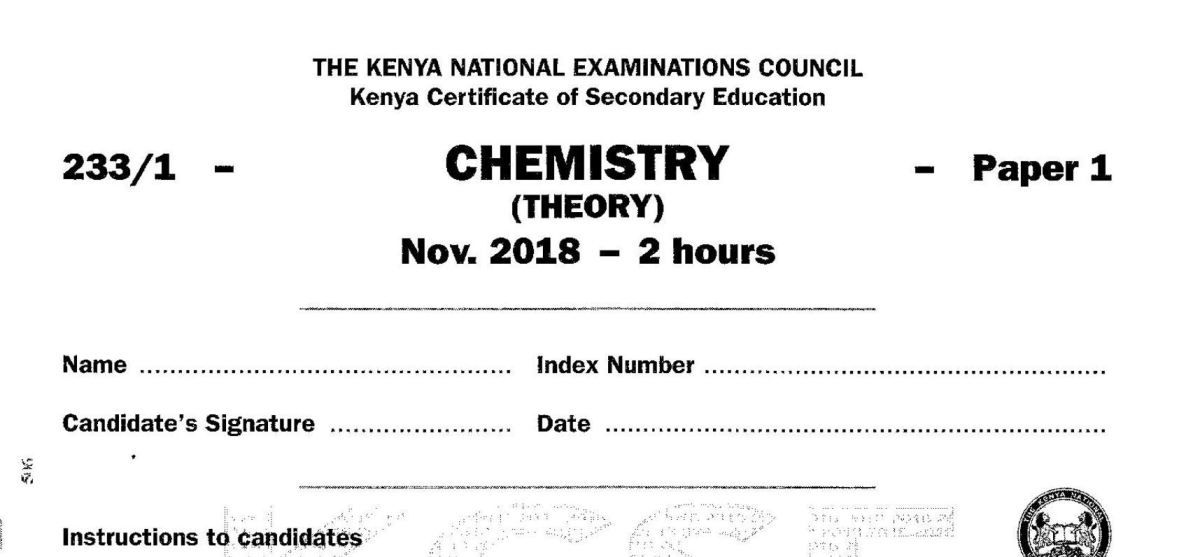 KCSE Chemistry Paper 1, 2018 with Marking Scheme (Answers