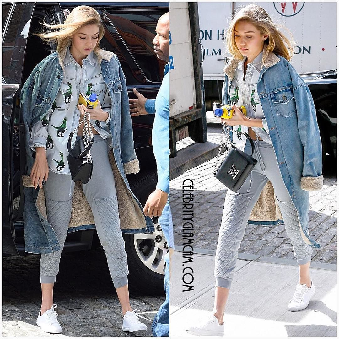Gigi Hadid spotted heading to work in NYC wearing a Fear of God denim jacket Louis Vuitton bag and People Footwear. #gigihadid #streetstyle #fearofgod #louisvuitton #instafashion #fashion #instaglam #glamour #beauty #fashionista #stylishstarlets #celebrity #celebrityglamcam @gigihadid @louisvuitton by celebrityglamcam