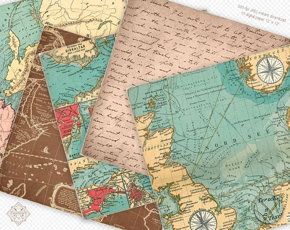 Vintage Maps Digital Paper Old Sea Maps With Etsy Vintage Maps Map Crafts Nautical Map