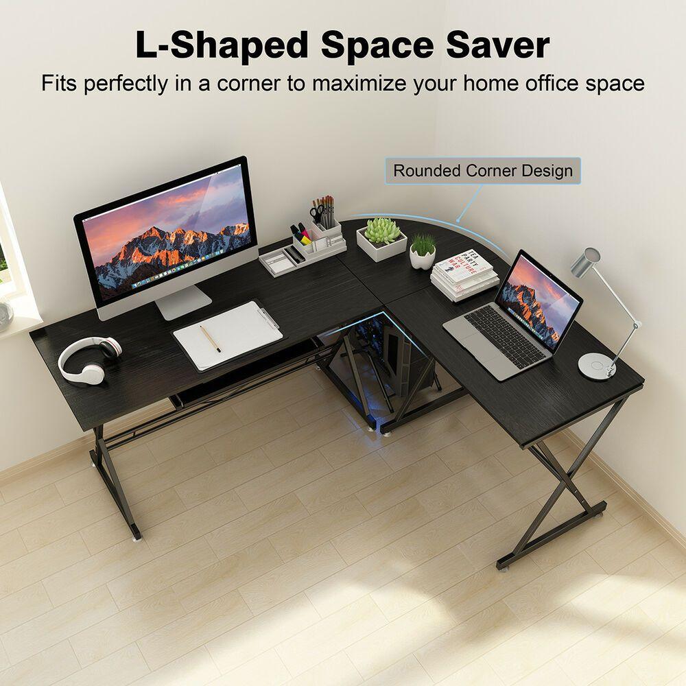 L Shaped Computer Desk Corner Home Office Study Laptop Pc Work Writing Table Us Affilink Desk Desksetup Deskor Pc Gaming Table Corner Computer Desk Pc Desk