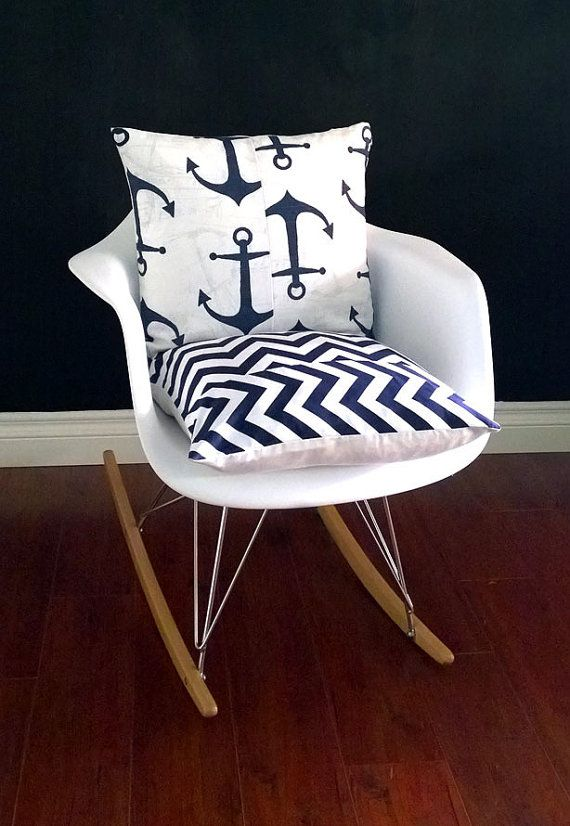 Eames Rocking Chair Cushion Cover For Baby Nursery Nautical Navy Chevron Anchor By RockinCushions 4900