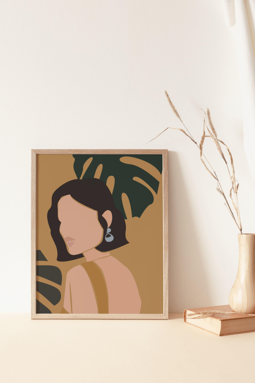 Mid Century Modern Female Portrait Print Mustard Abstract Print ...