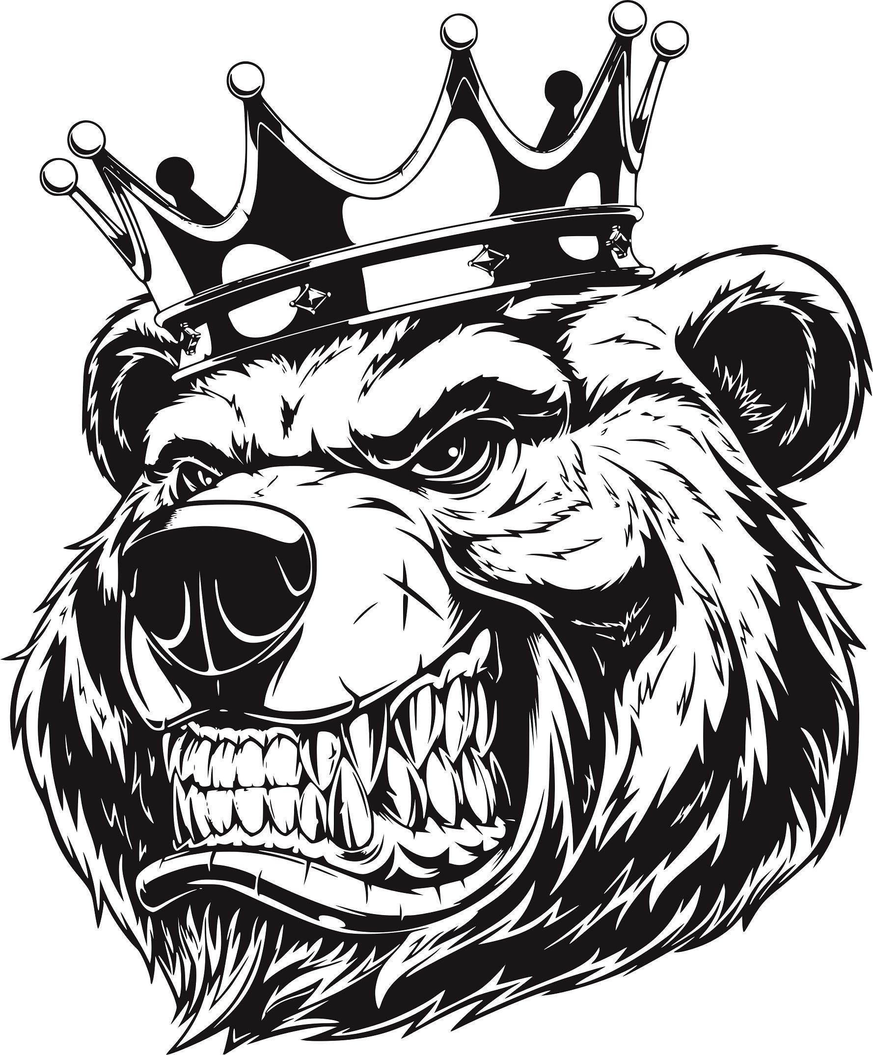 Angry Bear Clipart Vector Image Fierce Grizzly Bear Head Etsy Bear Tattoo Designs Grizzly Bear Tattoos Angry Bear