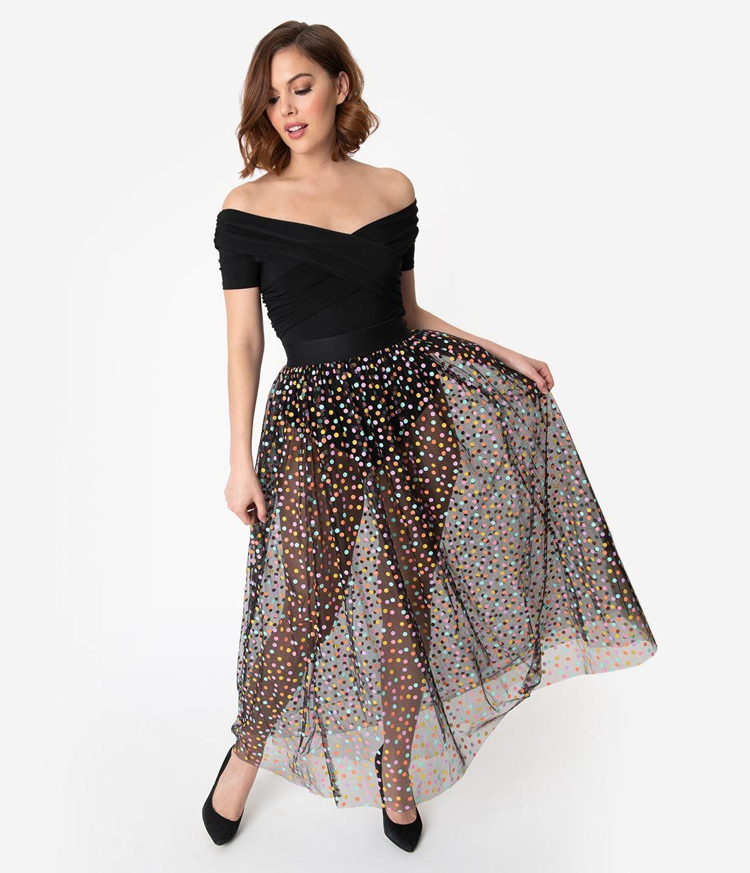39cd4b39fdfcd0 Black & Multicolor Polka Dot Mesh Tulle Kiara Long Skirt – Unique Vintage