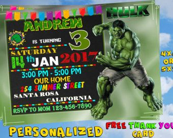 Tarjeta Gratis Gracias Invitación De Hulk Invitación De