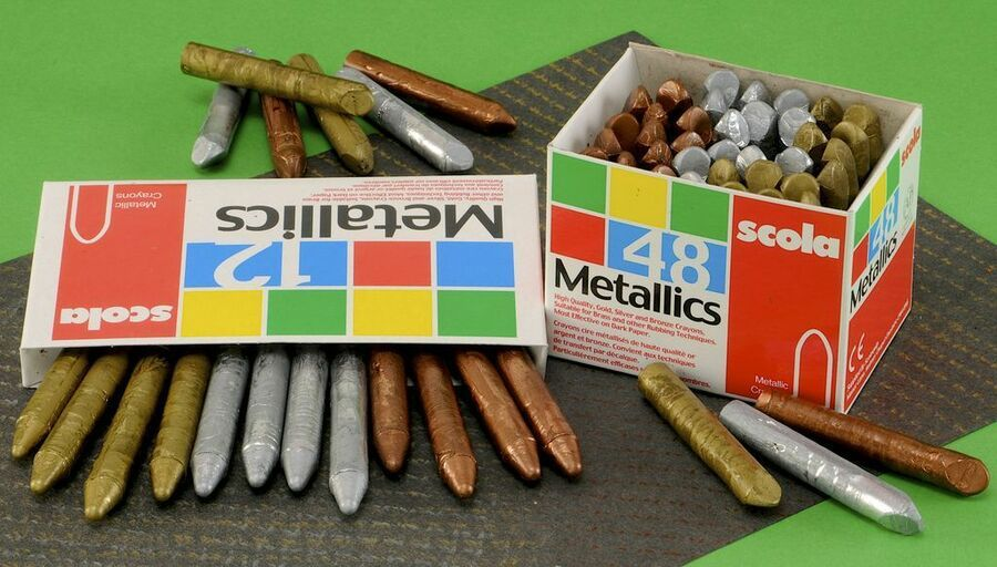 12 SCOLA METALLIC CRAYONS GOLD SILVER /& BRONZE FOR BRASS RUBBING EMBOSSING CRAFT