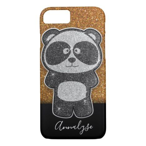 Gold Glitter Panda Black White Silver Sparkles Case-Mate iPhone Case | Zazzle.com #goldglitterbackground