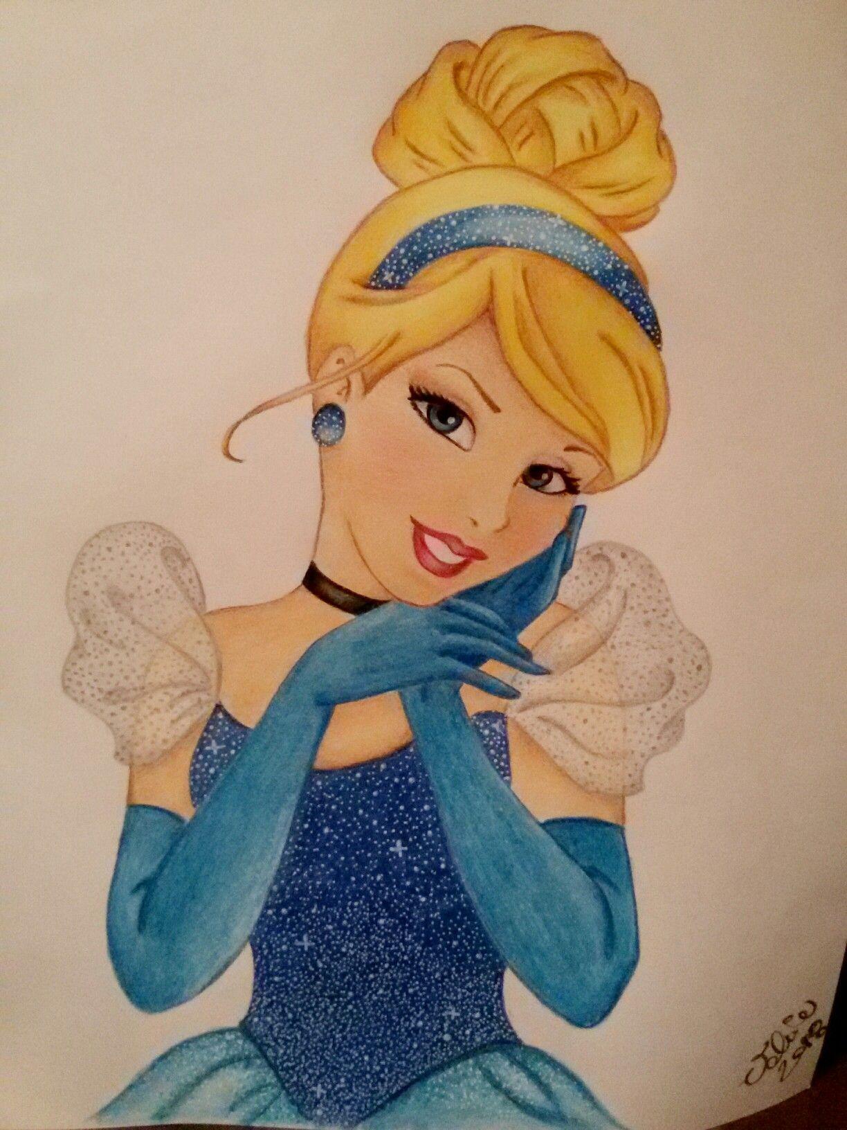 Disney Cinderella Coloured Pencils Draw 2018 Prestvalart 84 Cartoon Drawings Disney Cartoon Drawings Easy Disney Drawings