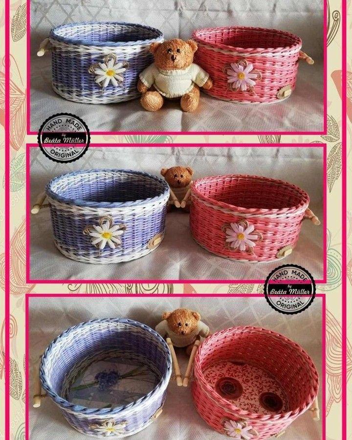 Bin Basket blue and pink, (blue Ø 25cm height