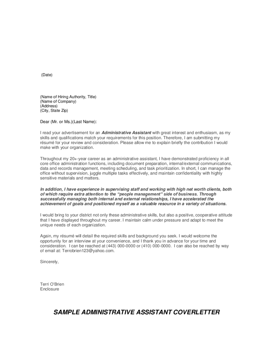 How To Email Cover Letter And Resume Sample Office Assistant Cover Letter Resume Administrator Job And .